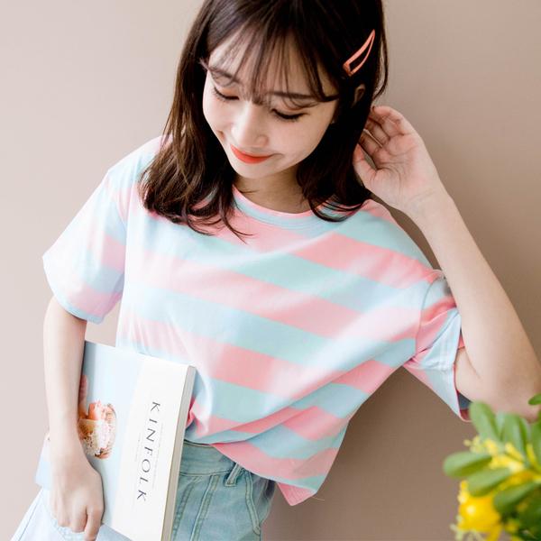 MIUSTAR 糖果配色!寬鬆粗條彈力棉質上衣(共3色)【NH0904】預購