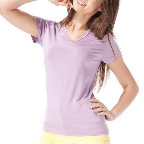 《MORINO》機能休閒抗UV速乾女短袖衫-紫色