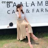 中大尺碼  一片式長裙(內襯安全褲附腰帶)~共兩色 - 適XL~4L《 68379 》CC-GIRL