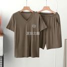 睡衣 男士睡衣夏季薄款莫代爾睡衣家居服套裝V領加大短袖短褲休閒寬鬆