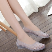 新夏季女鞋鏤空水晶鞋塑料涼鞋鳥巢洞洞鞋平底雨鞋沙灘鞋單鞋