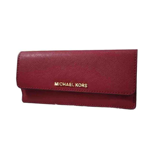 b9a9bdffcf0a 美國Michael Kors MK 防刮皮革酒紅色信封式薄長夾限時特賣