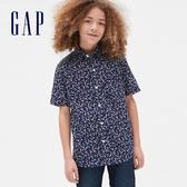 Gap男童創意花卉印花翻領襯衫541135-海軍藍