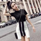 VK精品服飾 韓國名媛風經典黑白拼色上衣拉鏈包臀裙套裝短袖裙裝