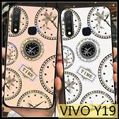 【萌萌噠】VIVO Y19 (6.53吋) 新款時光水鑽殼 創意錶盤支架 全包軟邊 鋼化玻璃背板 手機殼 手機套