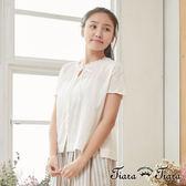 【Tiara Tiara】百貨同步 排釦綁帶小摺領短袖上衣 (白)