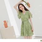 《DA7875》韓系女神蕾絲雕花荷葉袖收腰綁帶短洋裝 OrangeBear