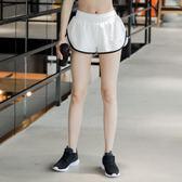 運動速干短褲女夏寬鬆假兩件跑步健身褲防走光高腰透氣彈力瑜伽褲『芭蕾朵朵』