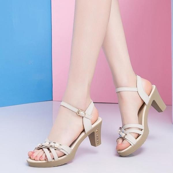 大尺碼高跟鞋 夏季新款涼鞋粗跟媽媽鞋韓版33大碼41-43