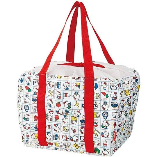 小禮堂 Hello Kitty 折疊尼龍環保購物袋 束口提袋 環保袋 側背袋 (紅白 格線) 4973307-50463