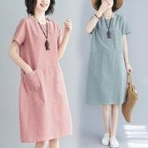 棉麻洋裝2020夏季新款文藝大碼棉麻條紋短袖連身裙休閒寬鬆顯瘦減齡中長裙 衣間迷你屋