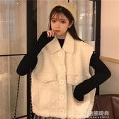 馬甲   羊毛羔POLO領寬松短款白色馬甲外套女羽絨馬夾甲女收腰背心 交換禮物