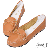 Ann'S優雅造型-細蝴蝶結牛皮平底娃娃鞋-棕