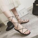 羅馬涼鞋 綁帶夏2020新款平底平跟女鞋交叉綁帶夾腳趾沙灘