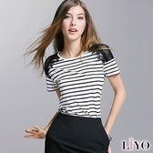 LIYO理優蕾絲網布拼接條紋休閒短袖上衣O732001