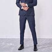 SST&C 男裝 海軍藍紋理修身西裝褲 | 0212009008