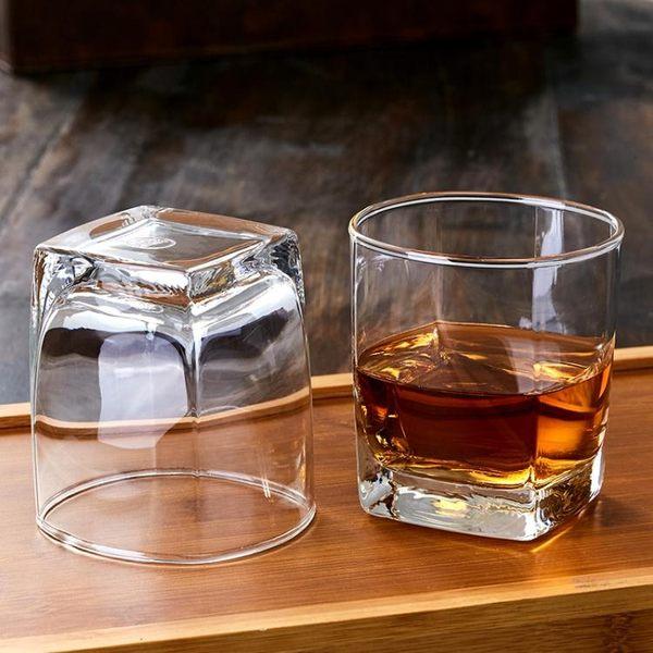 歐式古典威士忌酒杯套裝 創意老式四方玻璃白酒杯洋酒杯烈酒杯6只   小時光生活館