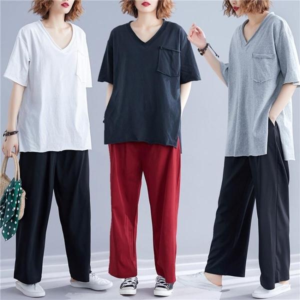 2020夏季大尺碼V領 口袋短袖T恤女 中長款寬鬆200斤開叉上衣 萬聖節鉅惠