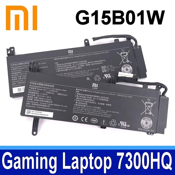 MI 小米 G15B01W 3芯 原廠電池 G15BO1W Gaming Laptop 7300HQ 1050Ti Gaming Laptop 7300HQ 1060 GTX1060 Intel I7