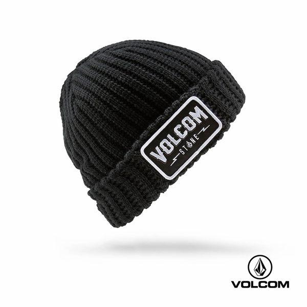 VOLCOM JAX BEANIE 車牌式LOGO反摺針織帽(男款)-黑