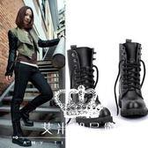 中筒靴 女平底黑色機車靴女軍靴騎士靴(35-42) 艾米潮品館