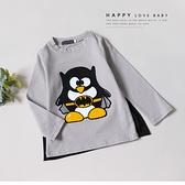 卡通 Q版蝙蝠俠刺繡披風薄長T 黑色企鵝 可拆披風 秋冬長袖 男童長袖 男童上衣 男童裝 童裝