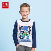 JJLKIDS 男童 滑板少年印花純棉上衣(本白)
