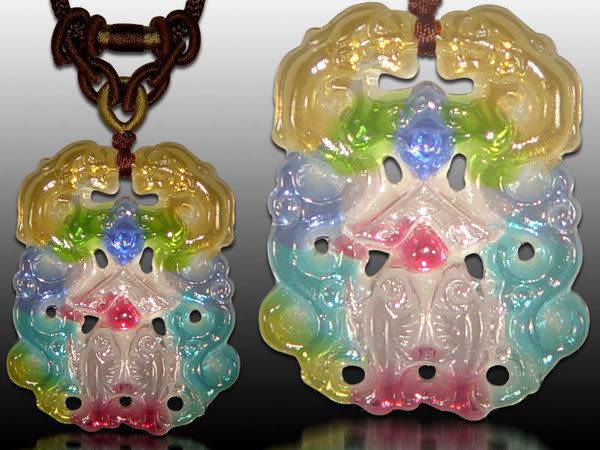鹿港窯~居家開運水晶琉璃項鍊~福貴有餘(龍、蝙蝠、魚) ◆附精美包裝◆免運費送到家