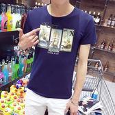 短袖T恤 男夏季圓領衣服修身男裝花紋印花潮流《印象精品》t56