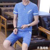 中大尺碼男士運動套裝休閒兩件套2019新款夏季百搭短袖T恤套裝 DJ9767『麗人雅苑』