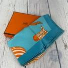 BRAND楓月 HERMES 愛馬仕 天藍色 斑馬方形絲巾 配件 配飾 擺設 流行時尚