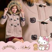 外套 Hello Kitty x Ruby 聯名款.仿毛連帽格紋反摺袖牛角釦大衣外套-Ruby s 露比午茶