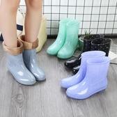 春秋雨鞋女短筒成人保暖雨靴正韓水靴夏季防水鞋女士防滑中筒膠鞋【免運】