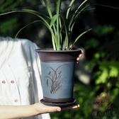 宜興紫砂蘭花盆君子蘭盆陶瓷蘭草盆帶托盤【櫻田川島】