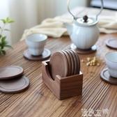 日式黑胡桃木杯墊木制家用玻璃茶杯水杯啤酒杯咖啡杯馬克杯隔熱墊 海角七號