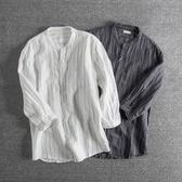 長袖襯衫 日系復古條紋青年小立領七分袖襯衫男亞麻薄款休閑襯衣潮