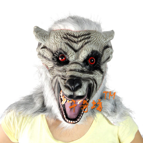 萬聖節 灰色高檔全包狼頭面具235g