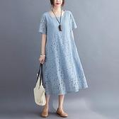 文藝洋裝連身裙M-3XL韓版百搭顯瘦蕾絲胖MM大碼連衣裙非A28-820.一號公館