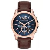 Armani Exchange男圓形玫瑰金色手錶