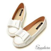 訂製鞋 甜美大蝶結軟皮休閒鞋豆豆鞋-艾莉莎ALISA【099293】白色下單區
