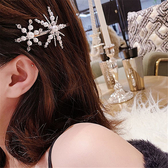 髮飾 簡約 雪花 珍珠 鑲鑽 造型 邊夾 瀏海夾 髮夾 髮飾【DD1903166】 icoca  05/09