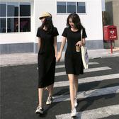連身裙 韓版圓領寬鬆中長款短袖t恤 針織連身裙 雙版本
