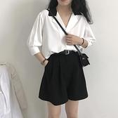 黑色工裝短褲女夏顯瘦高腰直筒寬管西裝褲寬鬆百搭五分a字休閒褲