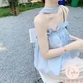 一字肩女短袖露肩夏季短款無袖T恤氣質一字肩掛脖【大碼百分百】