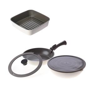 (組)可拆式陶瓷不沾導磁煎炒鍋5件組-白+煎盤-白
