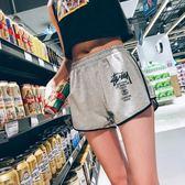 運動短褲女夏新款闊腿大碼跑步高腰薄款熱褲寬鬆休閒瑜伽褲家居褲 草莓妞妞