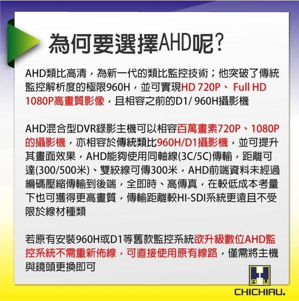 【CHICHIAU】AHD 720P SONY 130萬畫素1200TVL(類比1200條解析度)雙模切換高功率八陣列燈夜視攝影機