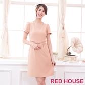 【RED HOUSE 蕾赫斯】大蝴蝶結洋裝(卡其色)