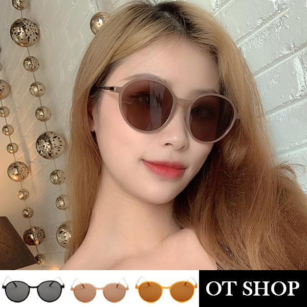 OT SHOP [現貨] 太陽眼鏡 個性圓框墨鏡 膠框混搭金屬鏡腿 抗UV400 亮黑灰片/奶茶色/橘框茶片 U119