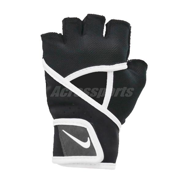 Nike 運動手套 Premium Heavyweight Gloves 黑 白 女款 訓練 魔鬼氈 一雙入 【ACS】 NLGC6-010